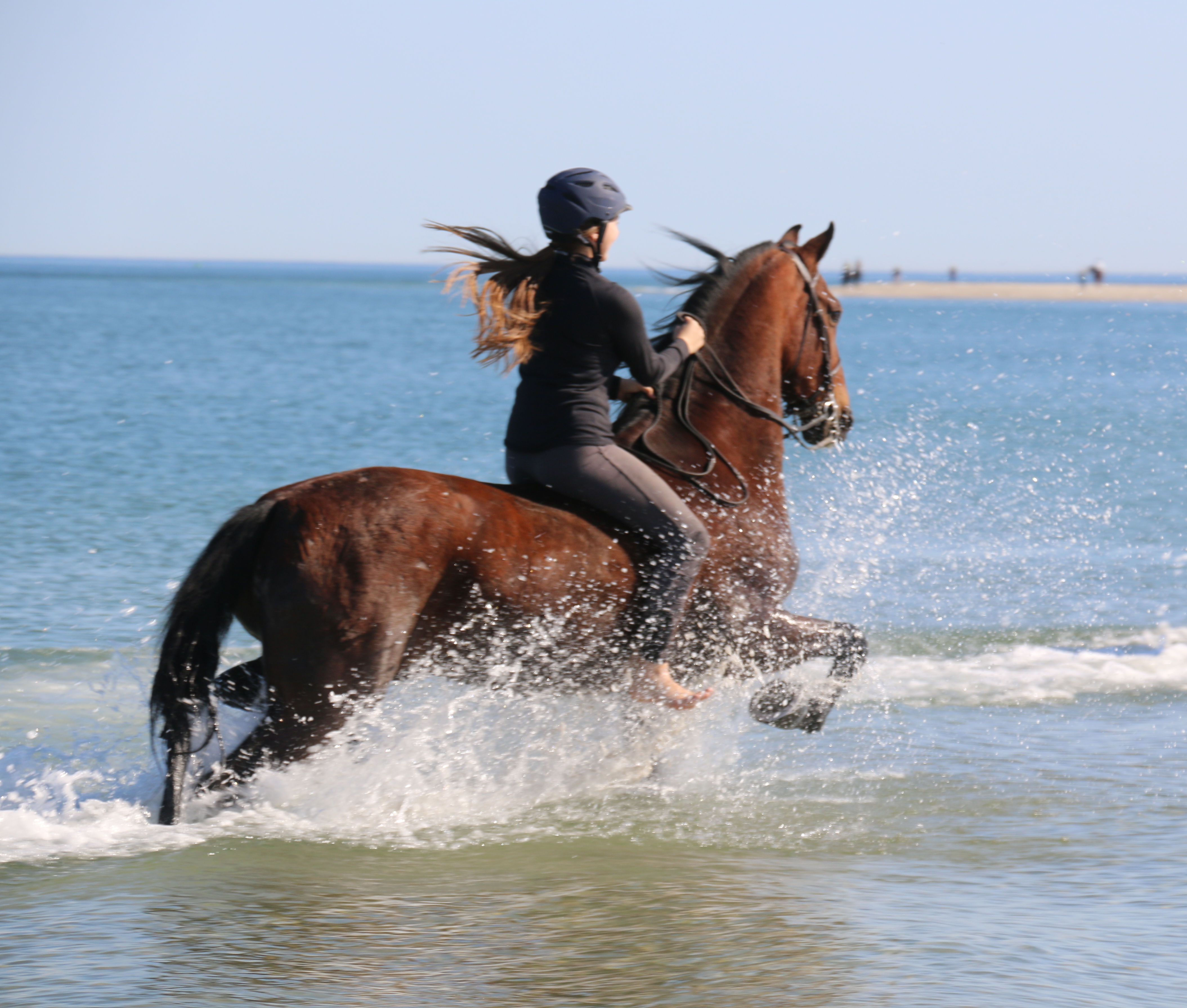 Rose and Mario enjoying riding through water at Crane beach