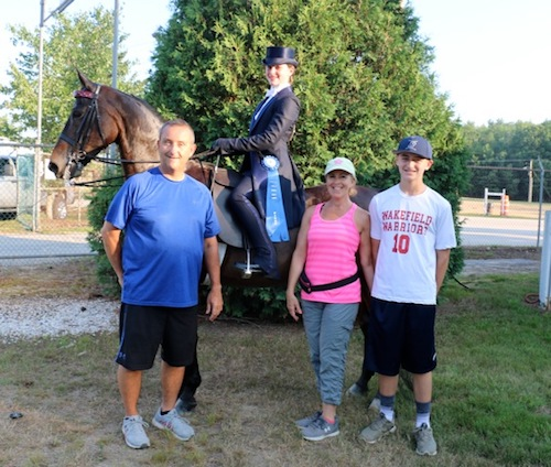Nicky wins medal - with her family at Seacoast Morgan/Open Horse Show in Deerfield