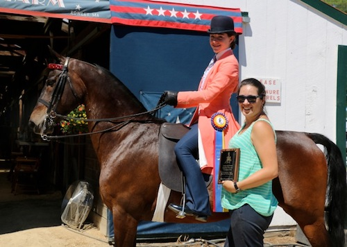 Nicky wins Junior Ex. Pleasure Championship at Seacoast Morgan/Open Horse Show in Deerfield